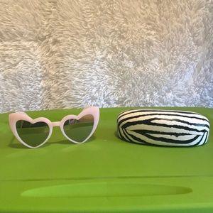 Pink heart shaped sunglasses
